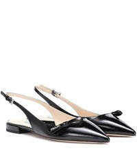 Prada Leather Slingback Ballet Flats Black