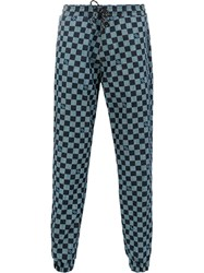 Andrea Crews Checkerboard Track Pants Blue