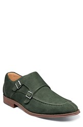 Stacy Adams Balen Moc Toe Double Strap Monk Shoe Dark Green Suede