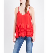The Kooples Tiered Lace Trimmed Silk Top Red01
