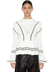 Self Portrait Ruffled Cotton Knitted Sweater White