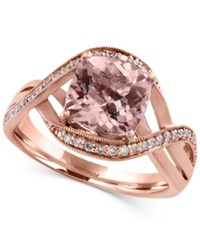 Effy Collection Blush By Effy Morganite 1 5 8 Ct. T.W. And Diamond 1 6 Ct. T.W. Swirl Ring In 14K Rose Gold