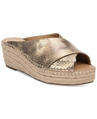 Franco Sarto Polina Espadrille Platform Wedge Sandals Created For Macy's Women's Shoes Gold Leather