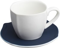 Cb2 Eddie White Teacup With Navy Saucer