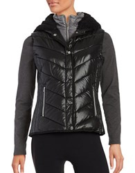 Marc New York Sherpa Lined Hooded Performance Puffer Vest Black Overcast