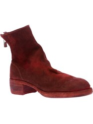 Guidi Distressed Zip Up Boot Red