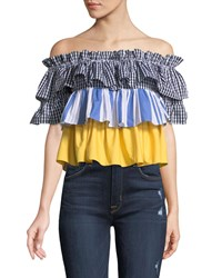 Romeo And Juliet Couture Off The Shoulder Tiered Pattern Blouse Multi