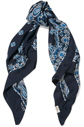 Saint Laurent Paisley Print Silk Twill Scarf Navy