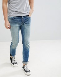 Selected Homme Jeans In Slim Fit Medium Blue Denim