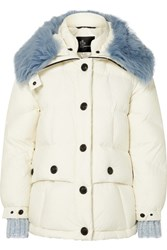 Moncler Grenoble Carezza Shearling Trimmed Quilted Down Jacket White