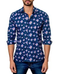 Jared Lang Heart Print Sport Shirt Blue Pattern