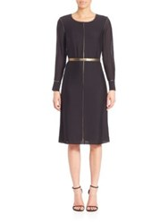 Elizabeth And James Annabelle Long Sleeve Silk Blend Dress Black