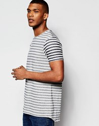 Asos Super Longline Stripe T Shirt With Scoop Hem And Fabric Interest Grey Blue