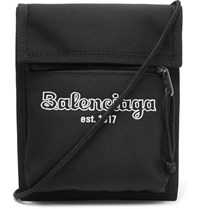 Balenciaga Logo Embroidered Canvas Messenger Bag Black
