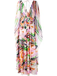 Emilio Pucci Abstract Print Maxi Dress Women Silk Polyamide Spandex Elastane 42