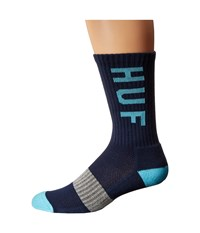Huf Performance Crew Sock Navy Light Blue Crew Cut Socks Shoes Multi