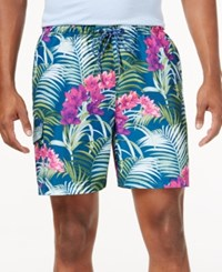 Tommy Bahama Men's Big And Tall Naples Orchid Oasis Swim Trunks Bering Blue