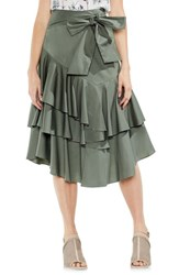 Vince Camuto Tiered Ruffle Belted Poplin Skirt Camo Green