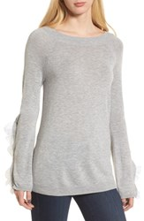 Chelsea 28 Chelsea28 Ruffle Sleeve Sweater Grey Heather