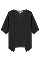 Diane Von Furstenberg Draped Silk Top Black