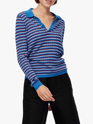 Brora Merino Wool Stripe Polo Shirt Lapis