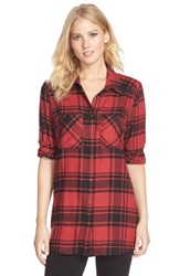 Women's Make Model Flannel Nightshirt Red Beauty Mandy Plaid