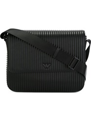 Emporio Armani Ribbed Texture Messenger Bag Black