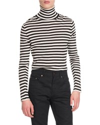 Saint Laurent Striped Intarsia Turtleneck Sweater Black