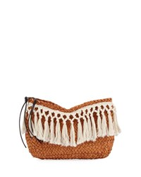 San Diego Hat Company Fringed Woven Two Zip Clutch Neutral Pattern