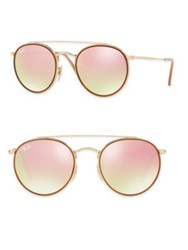 Ray Ban Mirrored Round Double Bridge Sunglasses Gold Mirror Gold Pink Blue