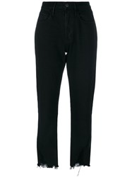 3X1 Frayed Cropped Jeans Women Cotton 25 Black