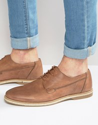 Asos Derby Shoes In Washed Tan Leather With Jute Wrap Sole Tan