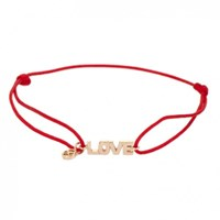 Kismet By Milka 14Ct Rose Gold And Red Cord Love Bracelet