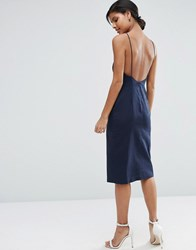Asos Scoop Back Midi Sundress Navy