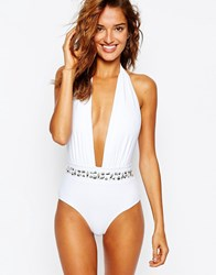 South Beach Embellished Waistband Plunge Swimsuit White Silver Beads