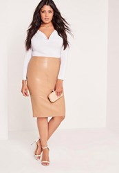 Missguided Plus Size Faux Leather Midi Skirt Camel