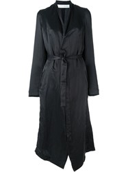 Isabel Benenato Cut Out Satin Belted Coat Black