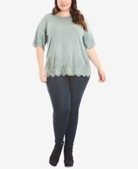 Eyeshadow Trendy Plus Size Lace Trim T Shirt Sage Frost