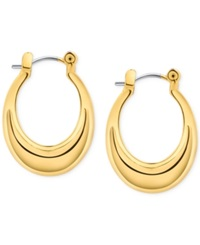 T Tahari Gold Tone Click Top Hoop Earrings