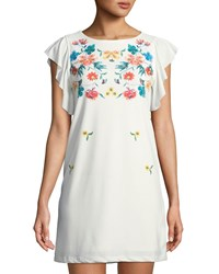 Dex Floral Yoke Butterfly Sleeve Crepe Mini Dress Ivory