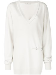 Tibi V Neck Slit Detail Tunic Pullover White
