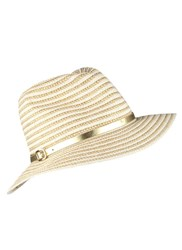 Dents Metallic Two Tone Striped Paperstraw Hat Ivory