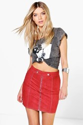 Boohoo Tab Top Zip Front Suedette A Line Mini Skirt Rust