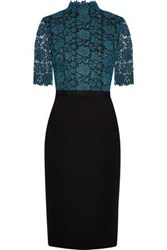 Catherine Deane Metallic Guipure Lace Paneled Knitted Dress Teal