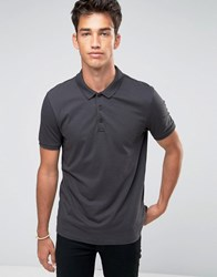 Asos Jersey Polo Shirt In Grey Olive