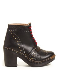 Burberry Lace Up Studded Leather Ankle Boots Black Gold