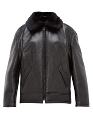 Balenciaga Faux Shearling Lined Leather Aviator Jacket Black