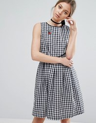 Trollied Dolly Gingham Skater Dress With Cherry Badge Black And White Gingha