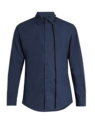 Craig Green Laced Collar Long Sleeved Cotton Shirt Navy