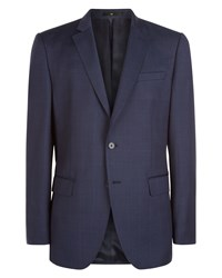 Jaeger Wool Windowpane Regular Jacket Navy